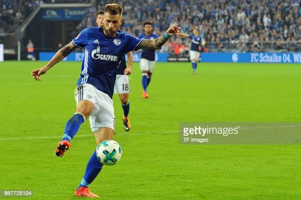 Guido Burgstaller of Schalke controls the ball during the Bundesliga match between FC Schalke 04 and Bayer 04 Leverkusen at VeltinsArena on September...