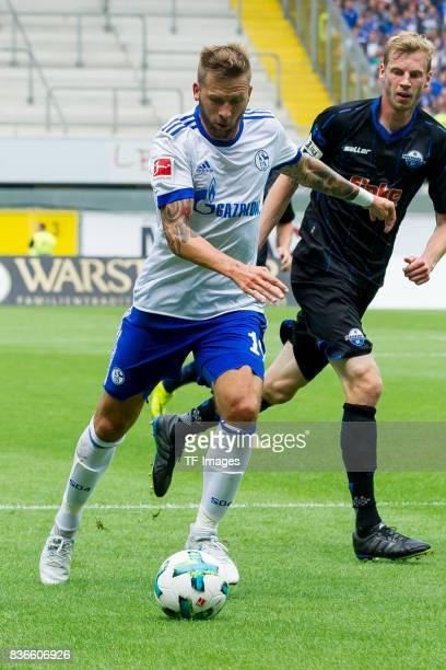 Guido Burgstaller of Schalke controls the ball during the preseason friendly match between SC Paderborn and FC Schalke 04 at BentelerArena on July 15...
