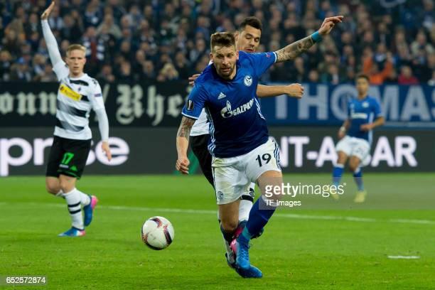 Guido Burgstaller of Schalke controls the ball during the UEFA Europa League Round of 16 first leg match between FC Schalke 04 and Borussia...