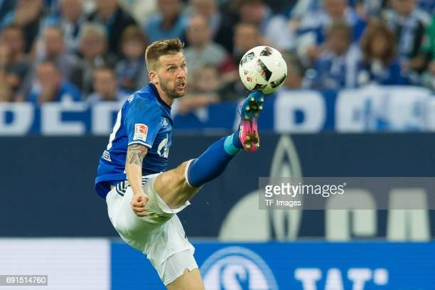 Guido Burgstaller of Schalke controls the ball during to the Bundesliga match between FC Schalke 04 and Hamburger SV at VeltinsArena on May 13 2017...
