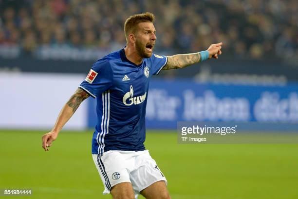 Guido Burgstaller of Schalke gestures during the Bundesliga match between FC Schalke 04 and FC Bayern Muenchen at VeltinsArena on September 19 2017...