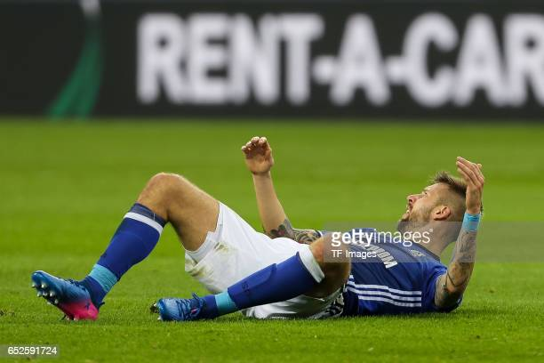Guido Burgstaller of Schalke gestures during the UEFA Europa League Round of 16 first leg match between FC Schalke 04 and Borussia Moenchengladbach...