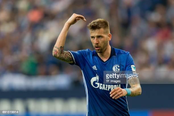 Guido Burgstaller of Schalke gestures during to the Bundesliga match between FC Schalke 04 and Hamburger SV at VeltinsArena on May 13 2017 in...