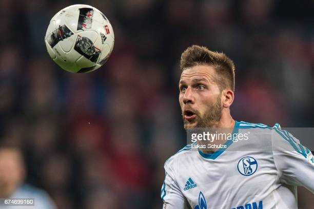 Guido Burgstaller of Schalke in action during the Bundesliga match between Bayer 04 Leverkusen and FC Schalke 04 at BayArena on April 28 2017 in...