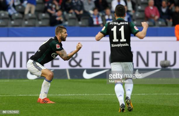 Guido Burgstaller of Schalke jubilates after scoring the second goal during the Bundesliga match between Hertha BSC and FC Schalke 04 at...
