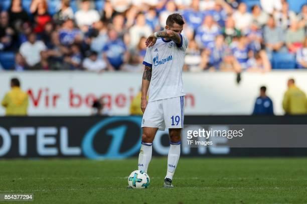 Guido Burgstaller of Schalke looks dejected during the Bundesliga match between TSG 1899 Hoffenheim and FC Schalke 04 at Wirsol RheinNeckarArena on...