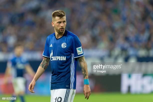 Guido Burgstaller of Schalke looks on during to the Bundesliga match between FC Schalke 04 and Hamburger SV at VeltinsArena on May 13 2017 in...