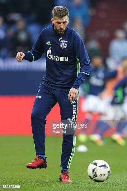Guido Burgstaller of Schalke plays the ball prior the Bundesliga match between FC Schalke 04 and FC Ingolstadt 04 at VeltinsArena on January 21 2017...