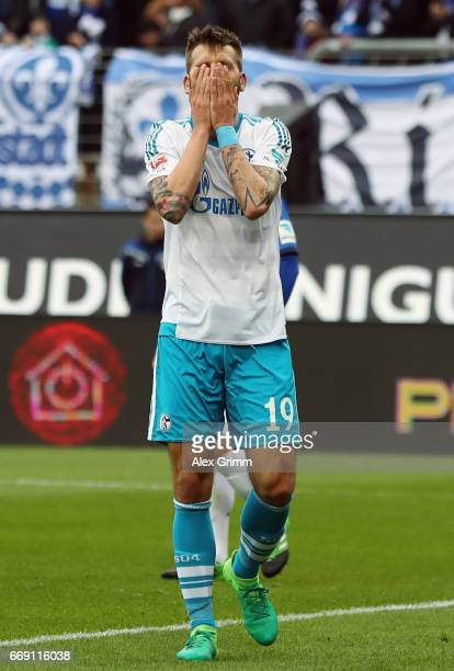 Guido Burgstaller of Schalke reacts during the Bundesliga match between SV Darmstadt 98 and FC Schalke 04 at Stadion am Boellenfalltor on April 16...