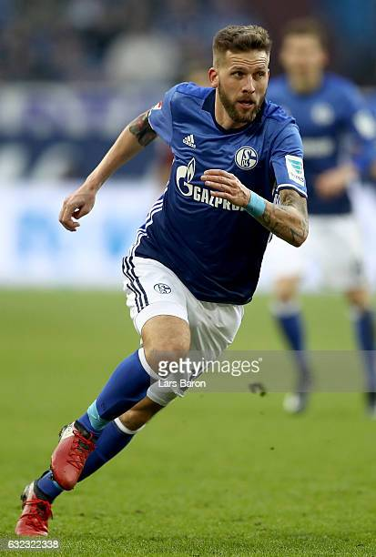 Guido Burgstaller of Schalke runs during the Bundesliga match between FC Schalke 04 and FC Ingolstadt 04 at VeltinsArena on January 21 2017 in...