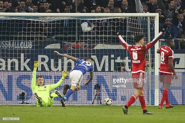 Guido Burgstaller of Schalke scores his team's first goal to make it 10 during the Bundesliga match between FC Schalke 04 and FC Ingolstadt 04 at...