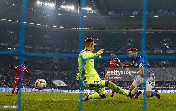 Guido Burgstaller of Schalke scores his teams winning goal during the Bundesliga match between FC Schalke 04 and FC Ingolstadt 04 at VeltinsArena on...
