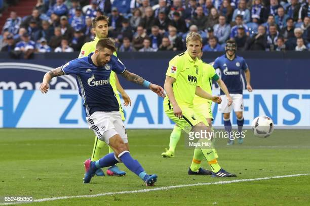 Guido Burgstaller of Schalke scores the second team goal during the Bundesliga match between FC Schalke 04 and FC Augsburg at VeltinsArena on March...