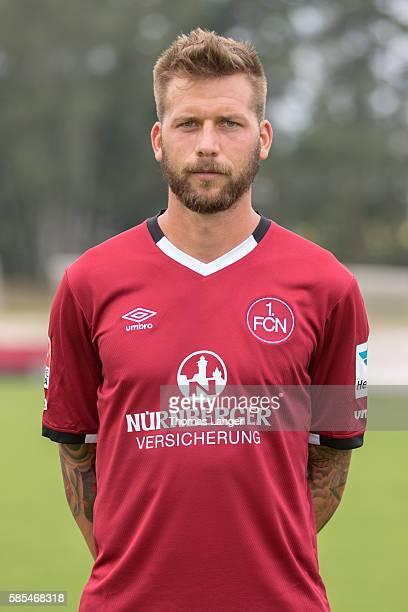 Guido Burgstaller poses during the 1 FC Nuernberg team presentation at Sportpark Valznerweiher on July 21 2016 in Nuernberg Germany