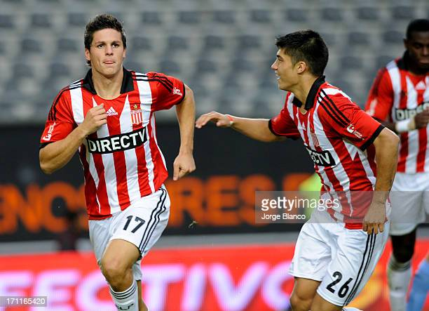 Guido Carrillo and Joaquin Correa of Estudiantes de La Plata celebrate a goal during a match between Estudiantes de La Plata and Belgrano as part of...