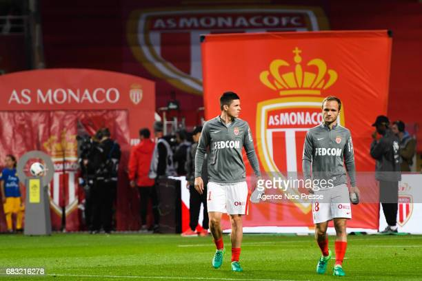 Guido Carrillo and Valere Germain of Monaco during the Ligue1 match between As Monaco and Lille OSC at Louis II Stadium on May 14 2017 in Monaco...