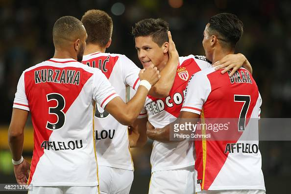 Guido Carrillo of AS Monaco celebrates with his teammates after scoring his team's second goal during the UEFA Champions League third qualifying...
