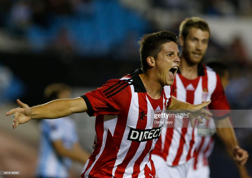 Guido Carrillo, of Estudiantes, celebrates after scoring the first goal of his team during a match between Racing Club and Estudiantes as part of 11th round of Torneo Final 2014 at Presidente Peron Stadium on April 1, 2014 in Buenos Aires, Argentina.