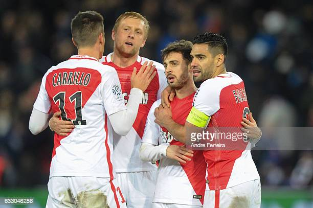 Guido Carrillo of Monaco and Kamil Glik of Monaco and Bernardo Silva of Monaco and Radamel Falcao of Monaco celebrate during the French Ligue 1 match...