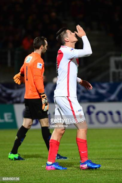 Guido Carrillo of Monaco celebrates putting his side 10 ahead during the French National Cup match between Chambly and AS Monaco Round of 32 on...