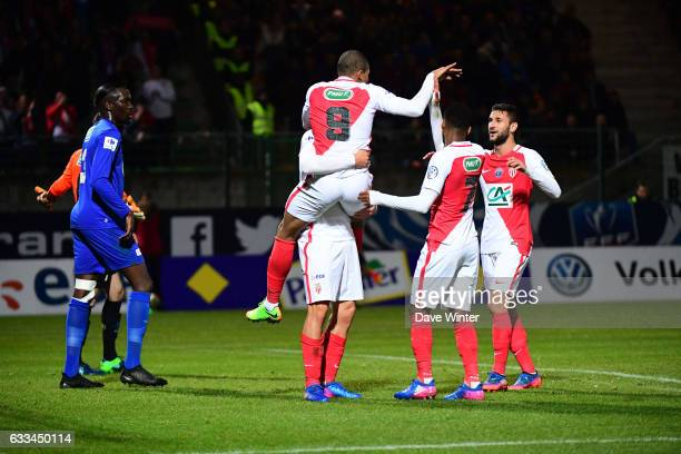 Guido Carrillo of Monaco celebrates putting his side 10 ahead with Kylian Mbappe Lottin of Monaco during the French National Cup match between...