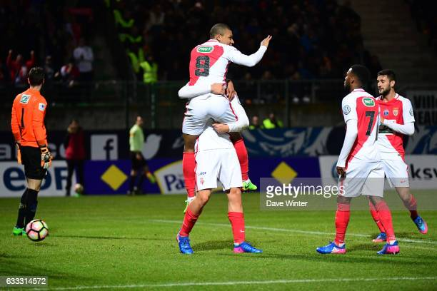 Guido Carrillo of Monaco celebrates with Kylian Mbappe Lottin of Monaco after he puts his side 10 ahead during the French National Cup match between...