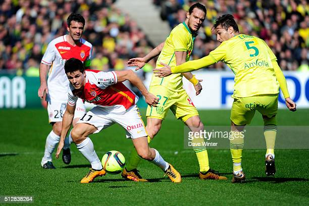 Guido Carrillo of Monaco Guillaume Gillet and Lorik Cana of Nantes during the French Ligue 1 game between FC Nantes v AS Monaco at Stade de la...