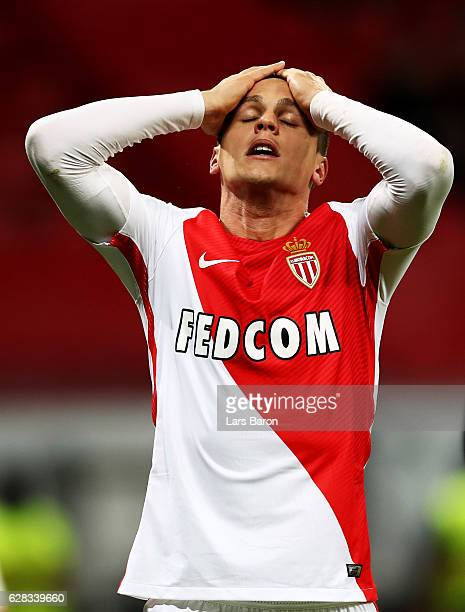Guido Carrillo of Monaco reacts during the UEFA Champions League match between Bayer 04 Leverkusen and AS Monaco FC at BayArena on December 7 2016 in...