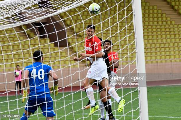 Guido Carrillo of Monaco scores during the friendly match between As Monaco and Nimes Olympique at Stade Louis II on August 31 2017 in Monaco Monaco