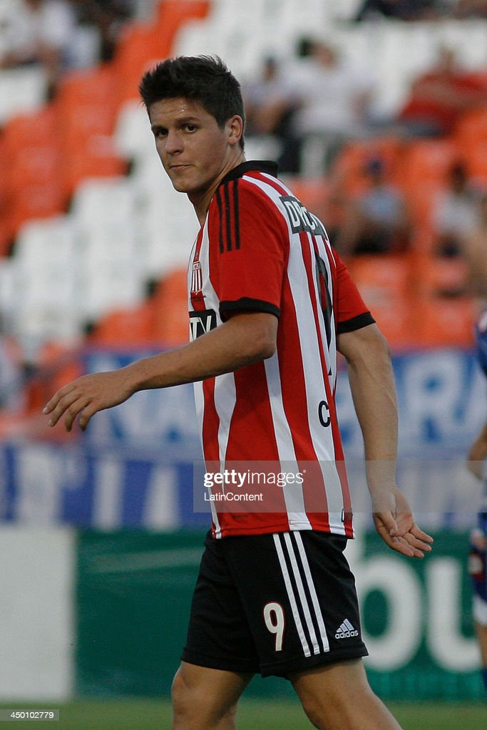 Guido Carrillo reacts during a match between Godoy Cruz and Estudiantes as part of Torneo Inicial at Mundialista Stadium on November 16, 2013 in Mendoza, Argentina.