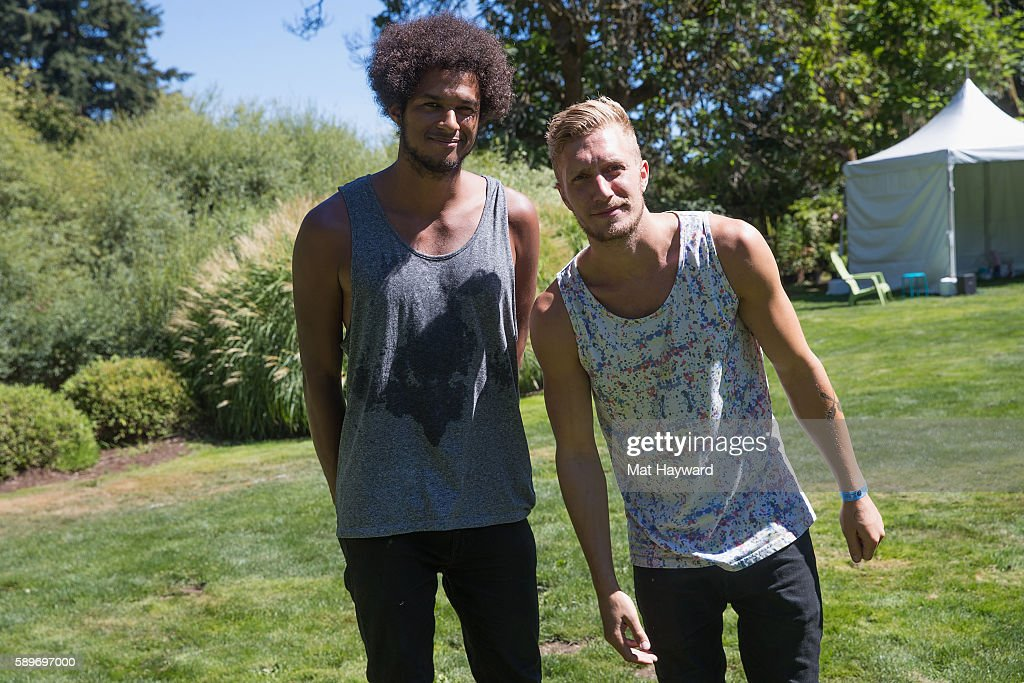 Guido Joseph and Joshua Nolet of Chef'Special pose for a photo backstage during the Summercamp Music Festival hosted by 1077 the End at Marymoor Park...