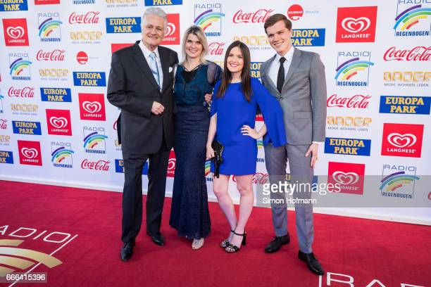 Guido Knopp his wife Gabriella Knopp his daughter Katharina and his son Christopher attend the Radio Regenbogen Award 2017 at Europapark on April 7...