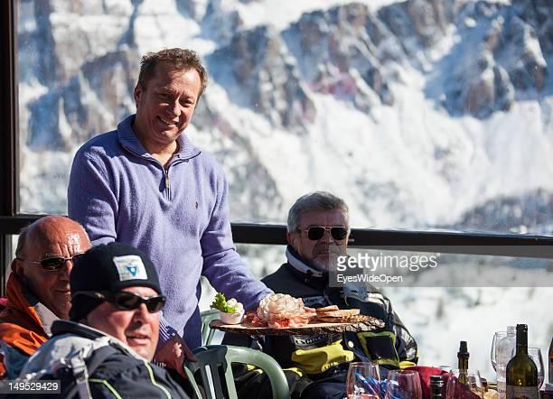 Guido Lorenzi the owner of the alpine mountain hut Rifugio Scoiattoli at the famous rocks Cinque Torri in the Dolomite Alps on March 9 2012 in...