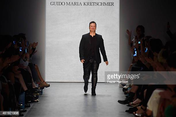 Guido Maria Kretschmer walks the runway at the Guido Maria Kretschmer show during the MercedesBenz Fashion Week Spring/Summer 2015 at Erika Hess...
