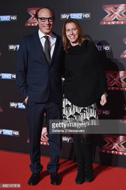 Guido Meda and his wife attend 'X Factor X' Tv Show Red Carpet on December 15 2016 in Milan Italy