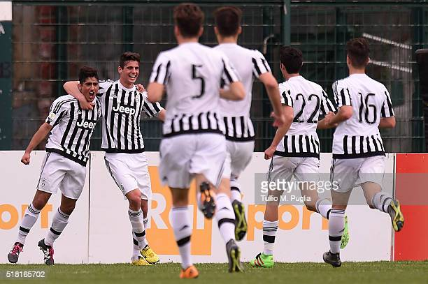 Guido Nahuel Vadala of Juventus is celebrated after scoring his team's second goal during the Viareggio Juvenile Tournament match between FC Juventus...