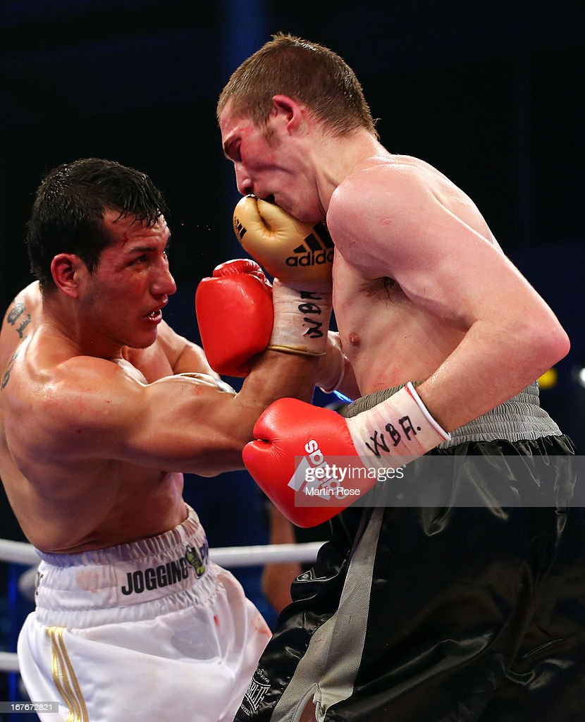 Guido Nicolas Pitto (R) of Argentina exchange punches with Jack Culcay (L) of Germany during the WBA Intercontinental Light Middleweight title fight at Sporthalle Hamburg on April 27, 2013 in Hamburg, Germany.