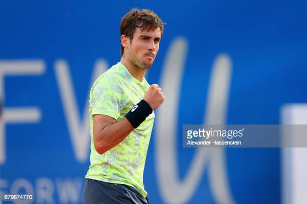 Guido Pella of Argentina celebrates victory after winning his semi finale match against Hyeon Chung of Korea of the 102 BMW Open by FWU at Iphitos...