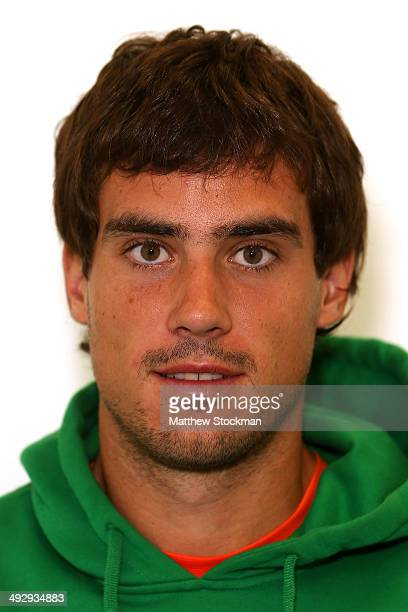 Guido Pella of Argentina during previews ahead of the French Open at Roland Garros on May 22 2014 in Paris France
