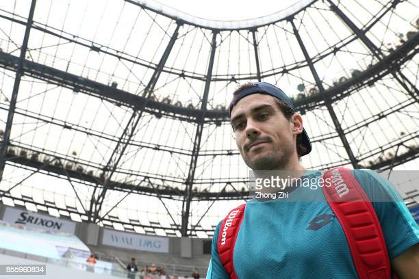 Guido Pella of Argentina enters the court during the semi final match against Marcos Baghdatis of Cyprus during Day 6 of 2017 ATP Chengdu Open at...
