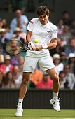 Guido Pella of Argentina in action during his first round match against Roger Federer of Switzerland at Wimbledon on June 27 2016 in London England...