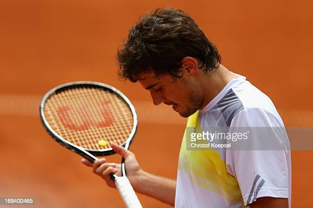 Guido Pella of Argentina looks dejected during the Power Horse World Team Cup semifinal between Guido Pella of Argentina and Juan Monaco of Argentina...