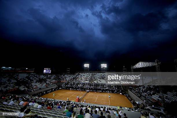 Guido Pella of Argentina plays Dominic Thiem of Austria during the Rio Open at Jockey Club Brasileiro on February 20 2016 in Rio de Janeiro Brazil