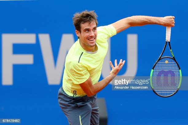 Guido Pella of Argentina plays the ball during his 2nd round match against Fabio Fognini of Italy of the 102 BMW Open by FWU at Iphitos tennis club...