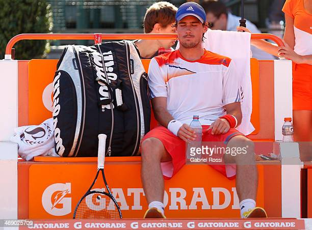 Guido Pella of Argentina rests during a tennis match between Tommy Robredo and Guido Pella as part of ATP Buenos Aires Copa Claro on February 12 2014...