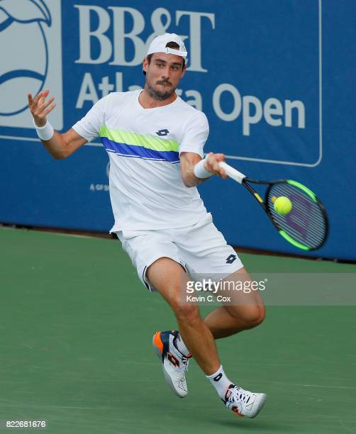 Guido Pella of Argentina returns a forehand to Peter Gojowczyk of Germany during the BBT Atlanta Open at Atlantic Station on July 25 2017 in Atlanta...