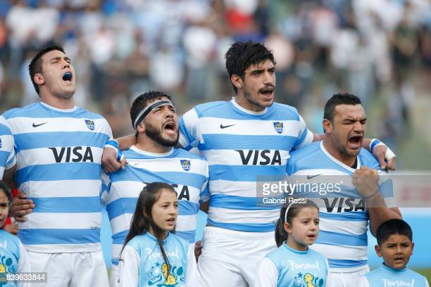 Guido Petti Lucas Noguera Paz Tomas Lavanini and Agustin Creevy sing the National Anthem prior to the round two match between Argentina and South...