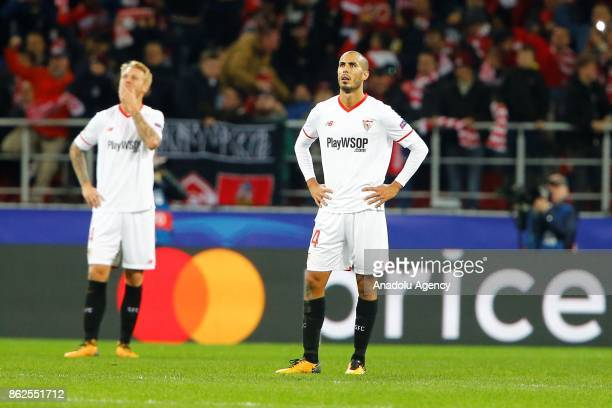 Guido Pizarro and Simon Kjaer of Sevilla are seen dejected after the goal of Spartak Moscow during the UEFA Champions League match between Spartak...