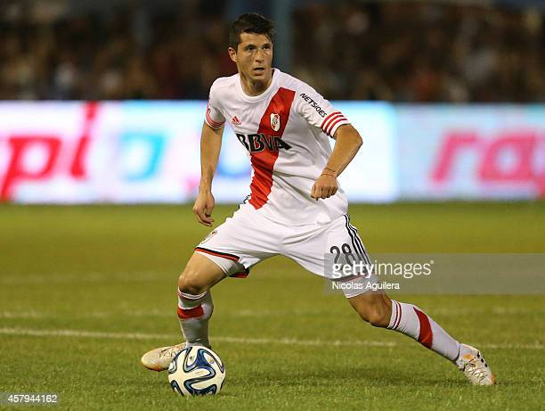 Guido Rodriguez of River Plate drives the ball during a match between Atletico Rafaela and River Plate as part of 13th round of Torneo de Transicion...