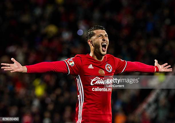 Guido Rodriguez of Xolos celebrates after scoring the third goal of his team during the quarter finals second leg match between Tijuana and Leon as...